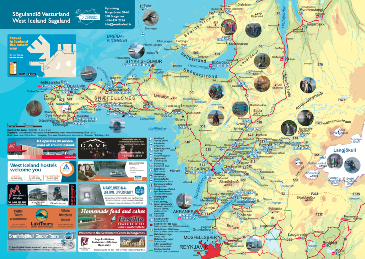 Vesturland Kort 2014 – Tourist Map Of Iceland